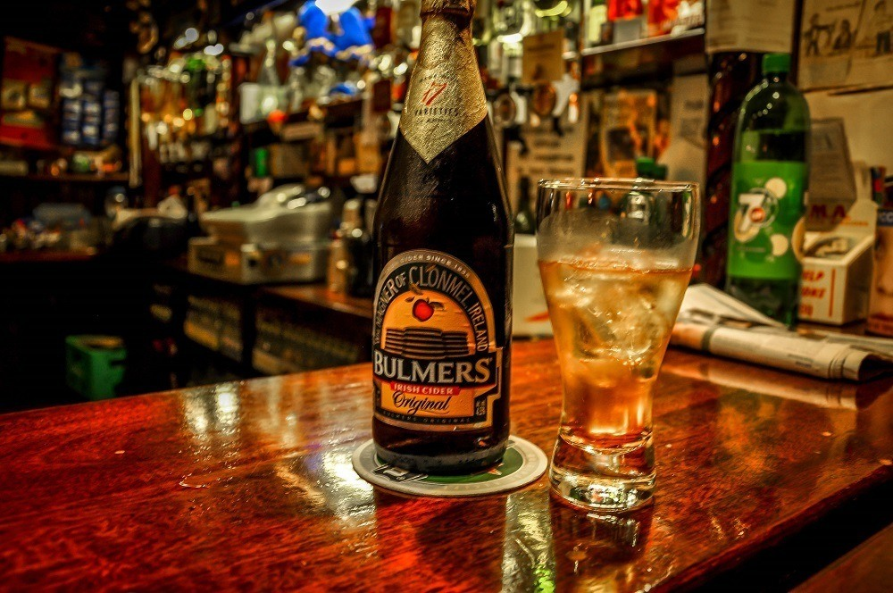 Bulmers bottle and glass