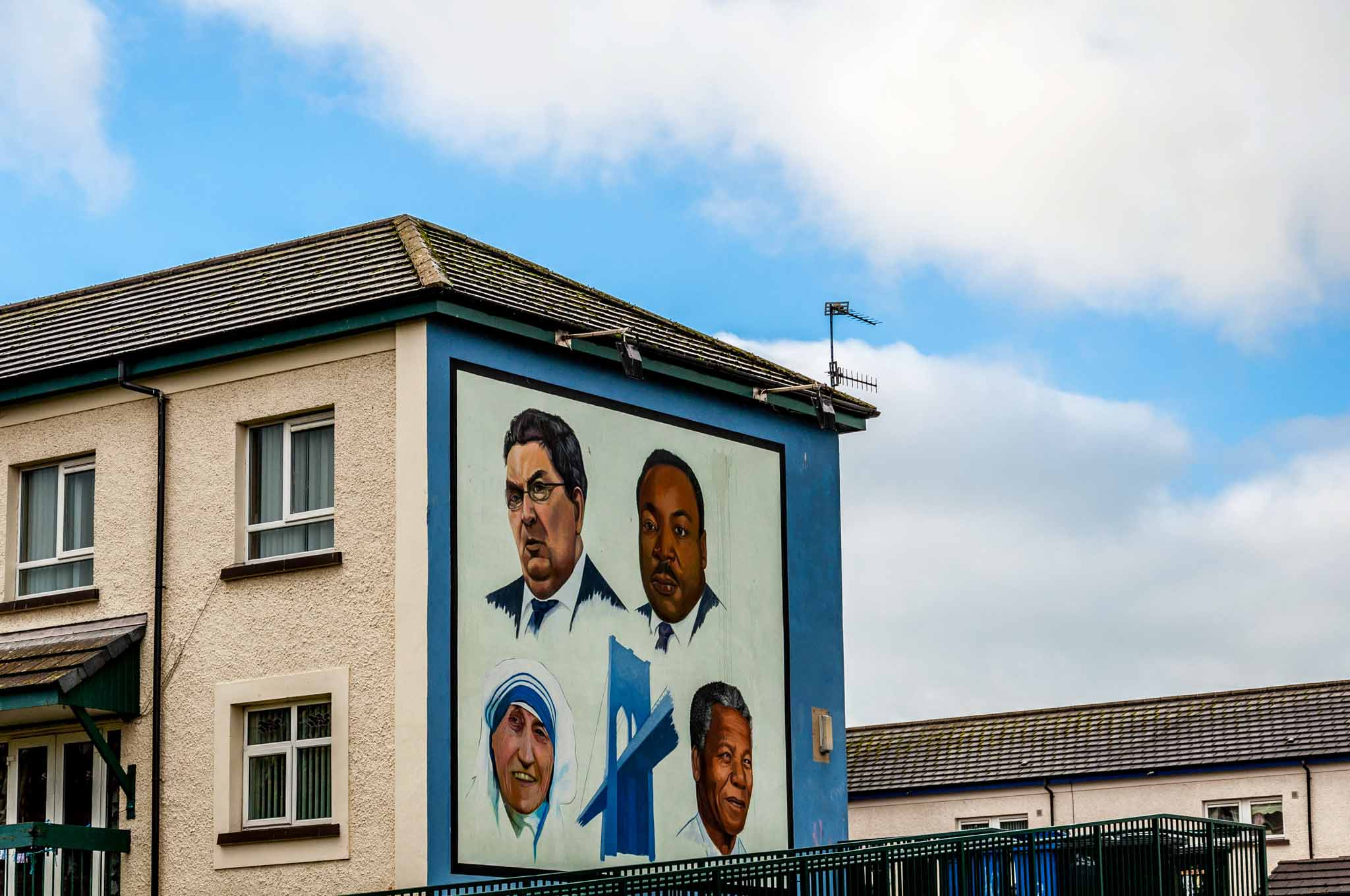 John Hume mural with Mother Teresa, Martin Luther King, and Nelson Mandela