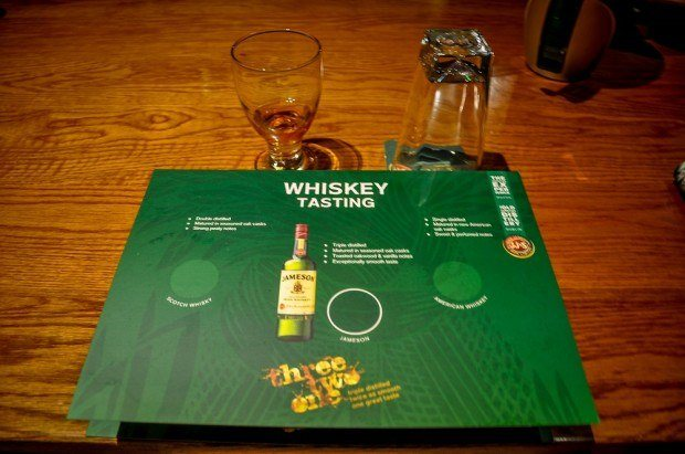 Glass and mat for whiskey tasting