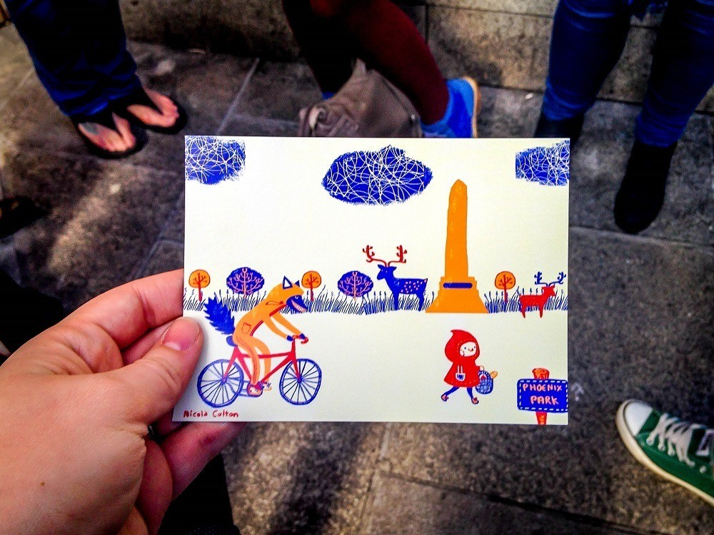 Stylized postcard by Nicola Colton on Le Cool Dublin walking tours