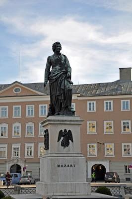 Statue of Wolfgang Amadeus Mozart in Salzburg, Austria