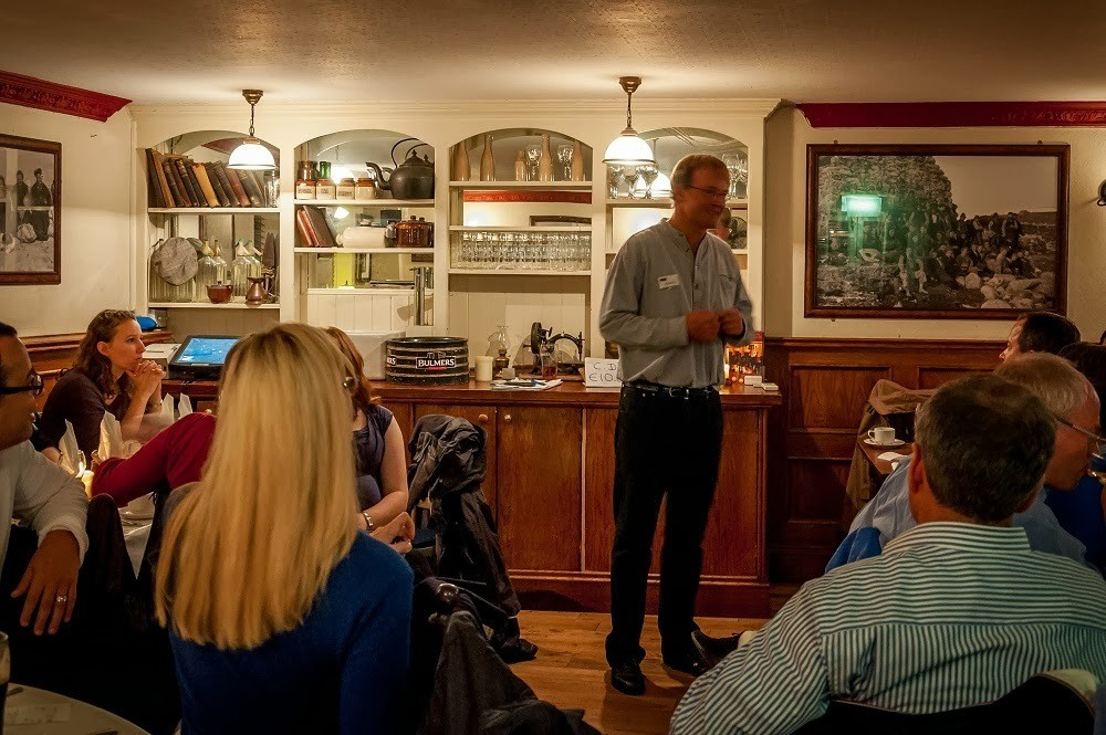 Johnny Daly talking at an Evening of Food, Folklore and Fairies at the Brazen Head