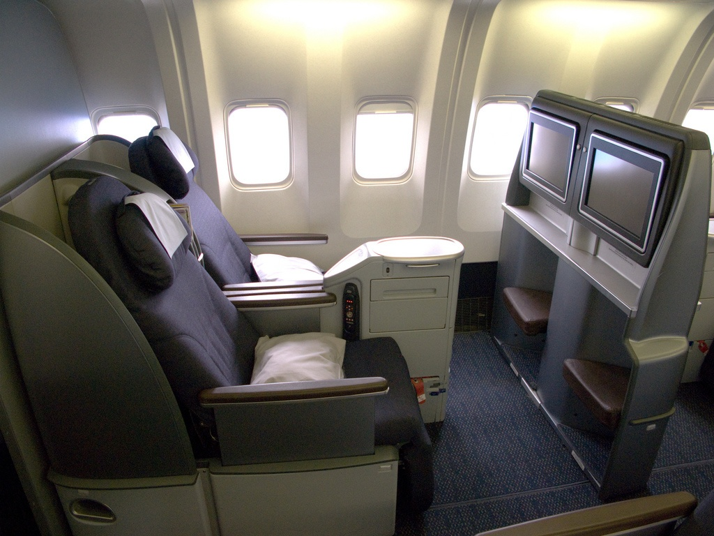 First class seats on a plane.