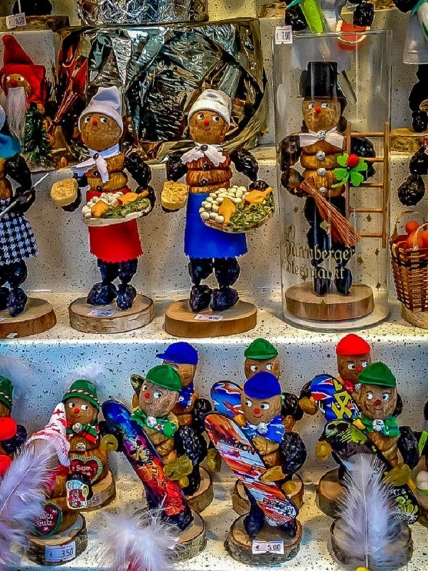 Figurines made of nuts and prunes are traditional in Nuremberg Christmas markets