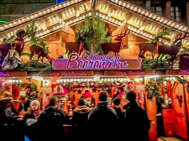 Gluhwein (mulled wine) and beer stalls are staples of the German Christmas markets