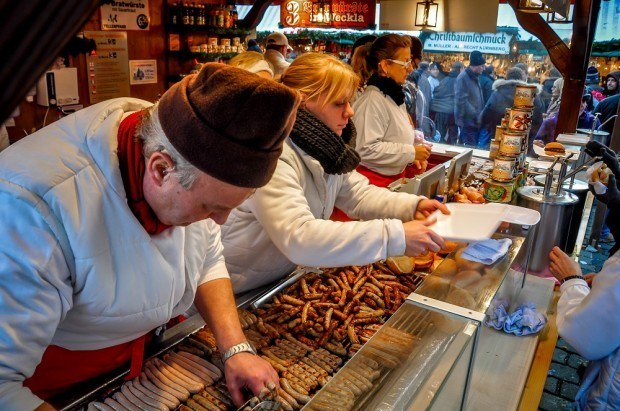 Sausage being served at the German Christmas markets