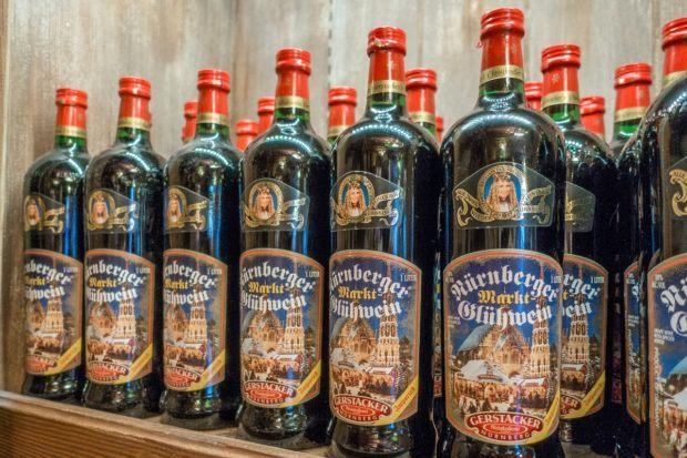 Bottle of gluhwein (German mulled wine) for sale