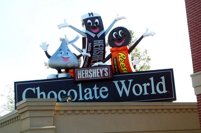 Entrance sign to Hershey's Chocolate World