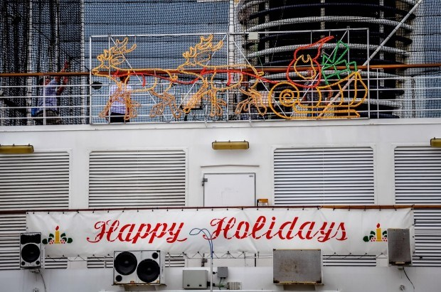 The ship gets all decorated for Christmas