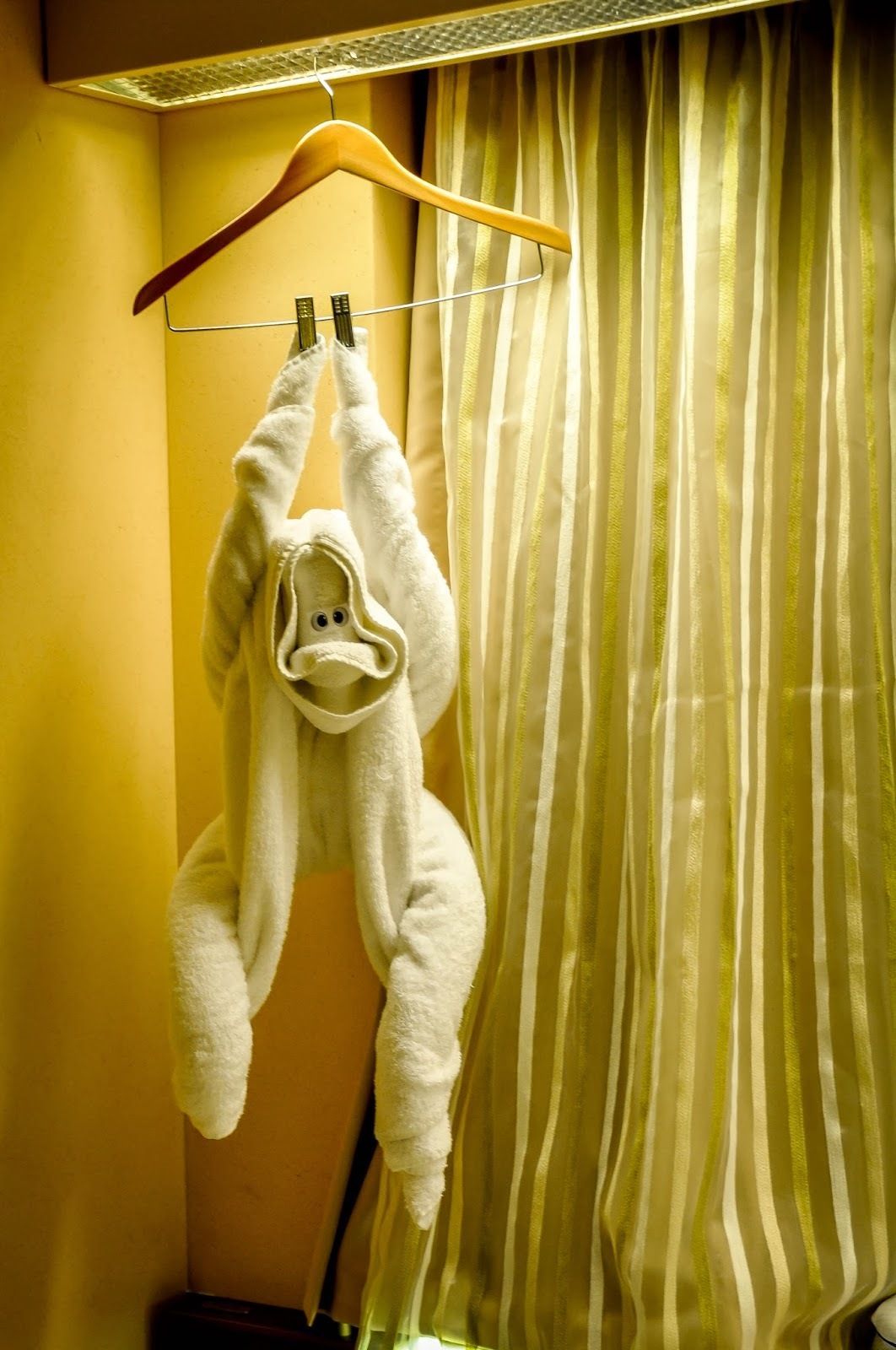 Towel monkey hanging from hanger by clothespins