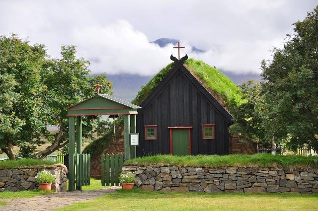 The Vidimyrarkirkja in Varmahlid while driving from Akureyri to Reykjavik