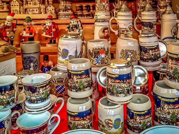 Beer steins are everywhere at the German Christmas markets