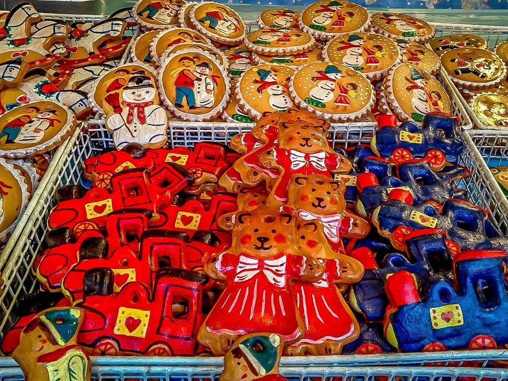 Brightly-painted gingerbread ornaments