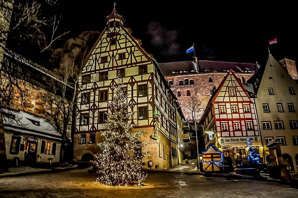 Decorations and half-tiber buildings at Christmas in Nuremberg