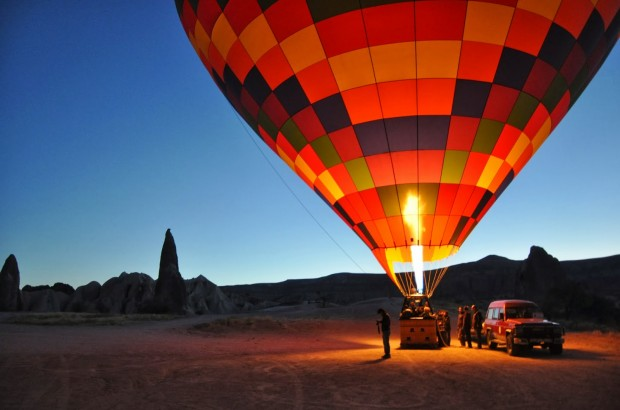 Hot air balloon preparation in Turkey