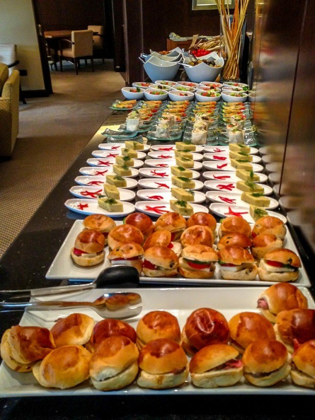 Elaborate happy hour spread in the VIP lounge of the Grand Hyatt Istanbul