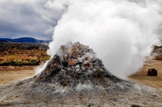 Sulfur gas steaming from vent in Hverir, a must-see on any Iceland itinerary