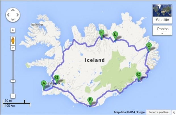 Iceland Ring Road Map: Iceland Itinerary for the Ring Road. If you decide to drive Route 1, be sure to buy a map of Iceland Ring Road at a gas station when you arrive and do not rely completely on GPS or cell phones for navigation.