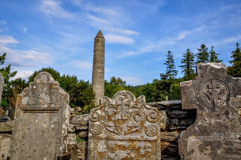 Glendalough's Round Tower, some of Ireland's most beautiful Celtic ruins
