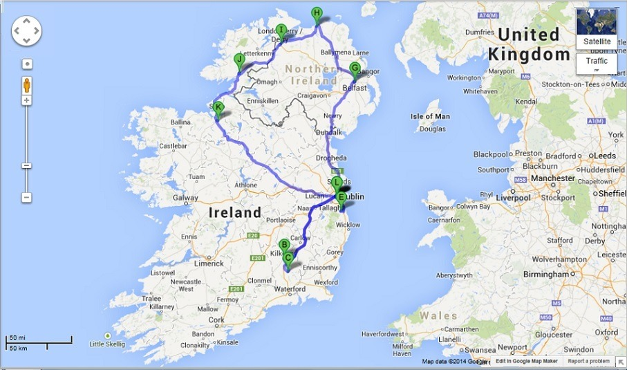 Map Of Northern Ireland And Ireland.Ireland And Northern Ireland Driving Itinerary