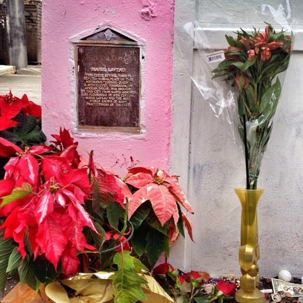 Marie Leveau's pink tomb  with flower display