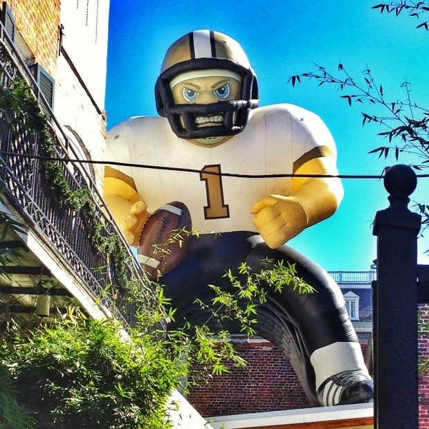 Giant inflatable Saints footbal player