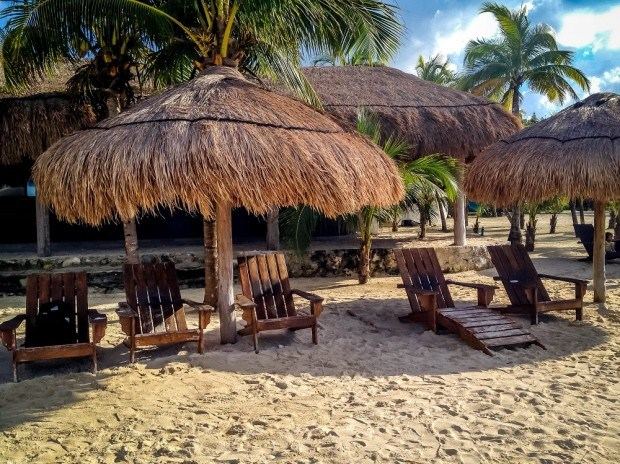 Snapshot of Cozumel Chankanaab National Park:  The quiet chairs on the beach.  You can find peace and quiet here if you just look for it.  Chankanaab Park Cozumel can be relaxing or it can be an adrenaline thrill if you decide to go on the zipline in Cozumel.