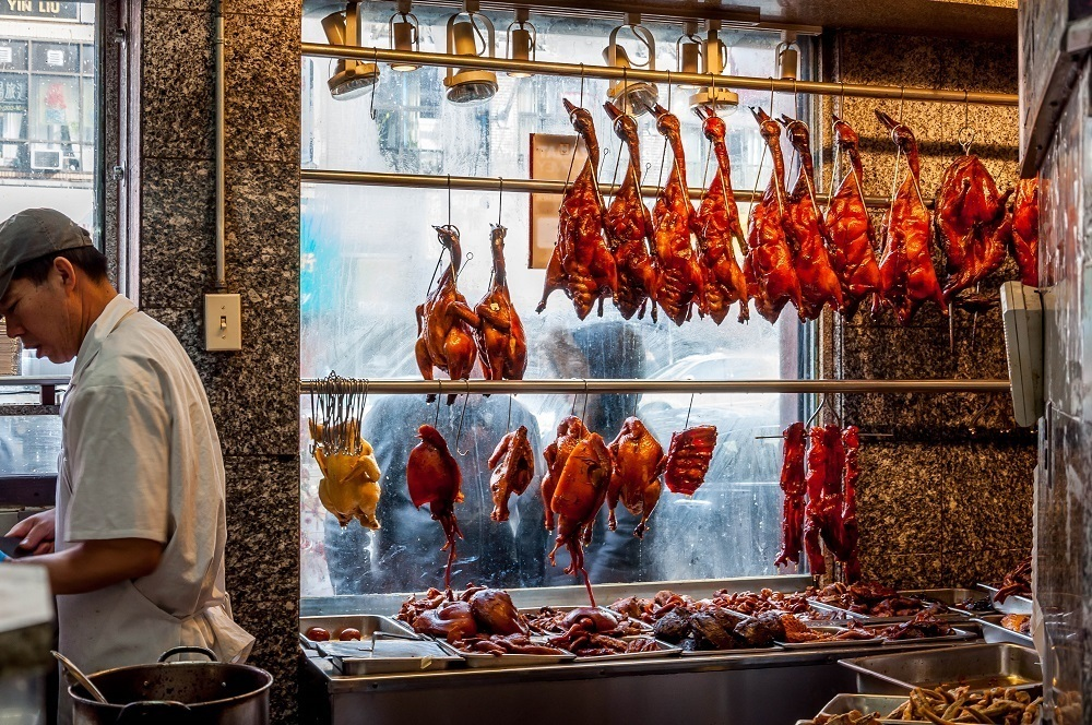 Peking Duck for sale in a Chinatown market
