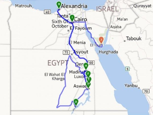 Egypt itinerary map.  Traveling to Egypt was one of the greatest travel experiences of our lives.