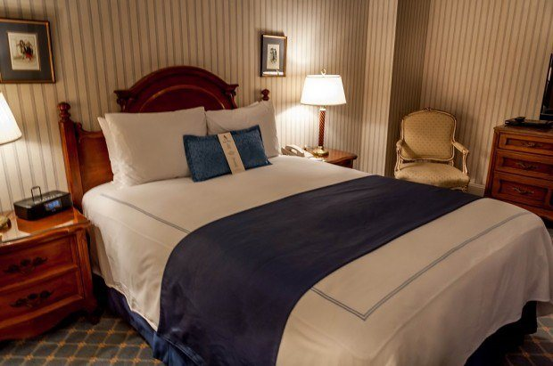The bedroom at the Hotel Elysee in New York City.  The large, quiet, and spacious bedrooms are all consistently ranked in highly in Hotel Elysee NYC reviews.