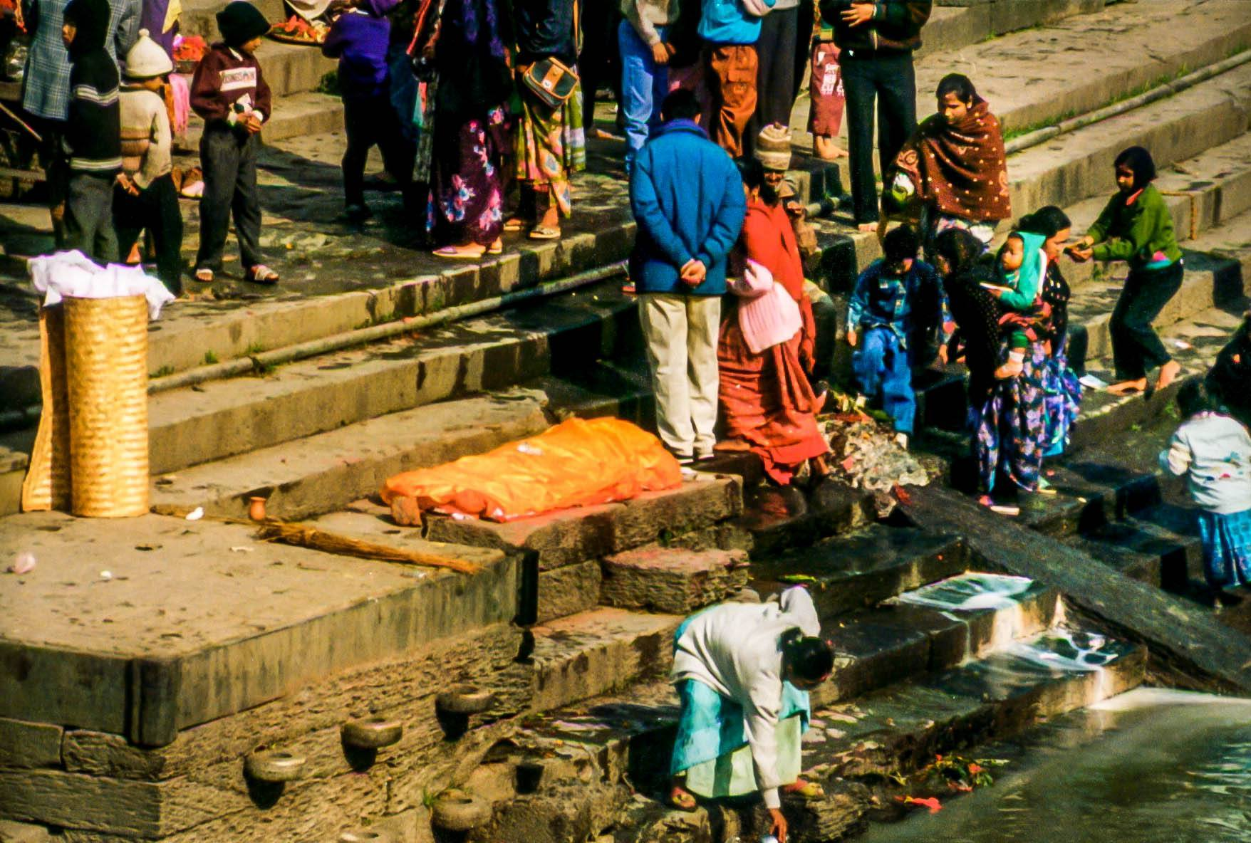 Cremation ceremony at the Bagmati River in Kathmandu, Nepal