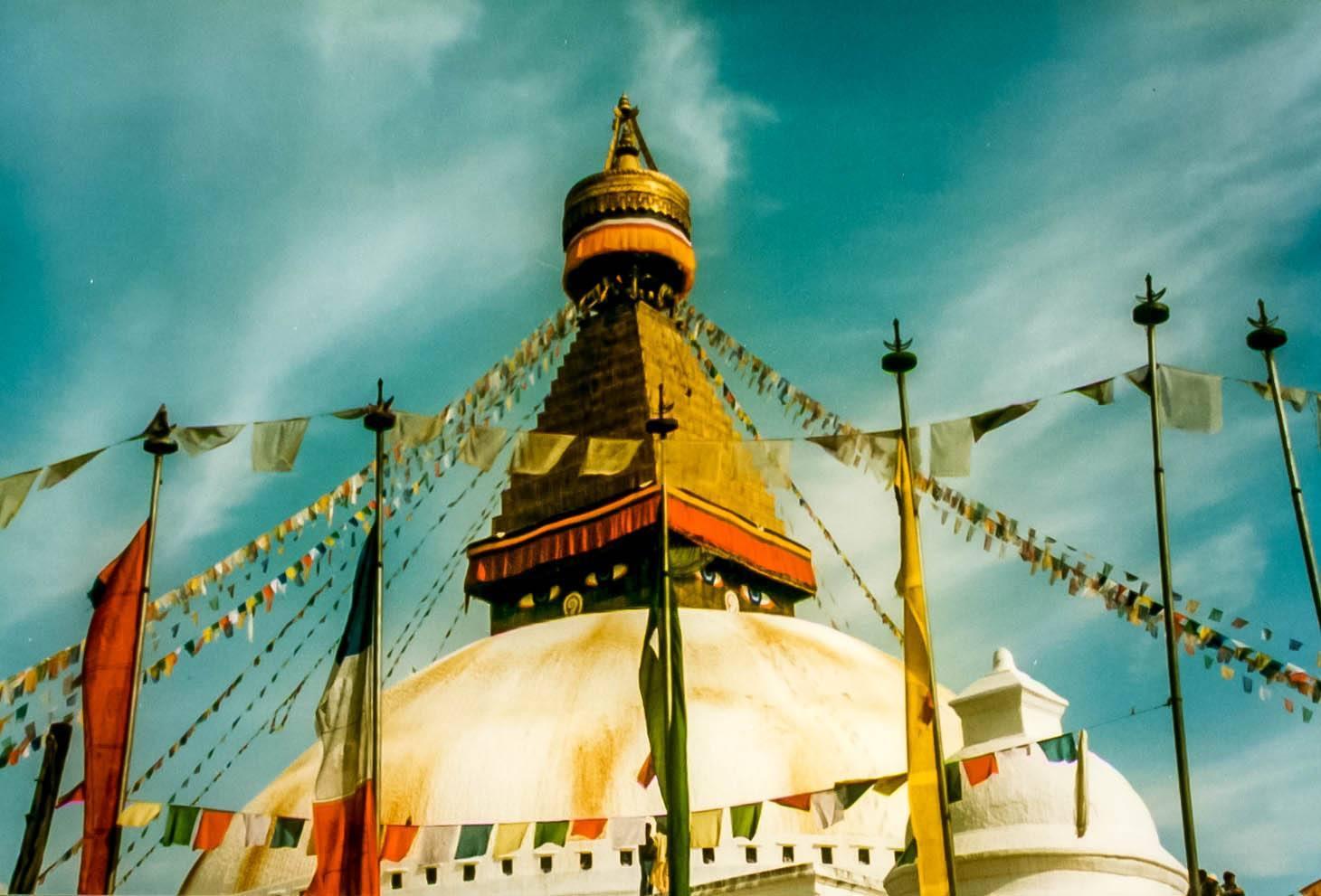 The Boudhanath Stupa with flags in Kathmandu, Nepal