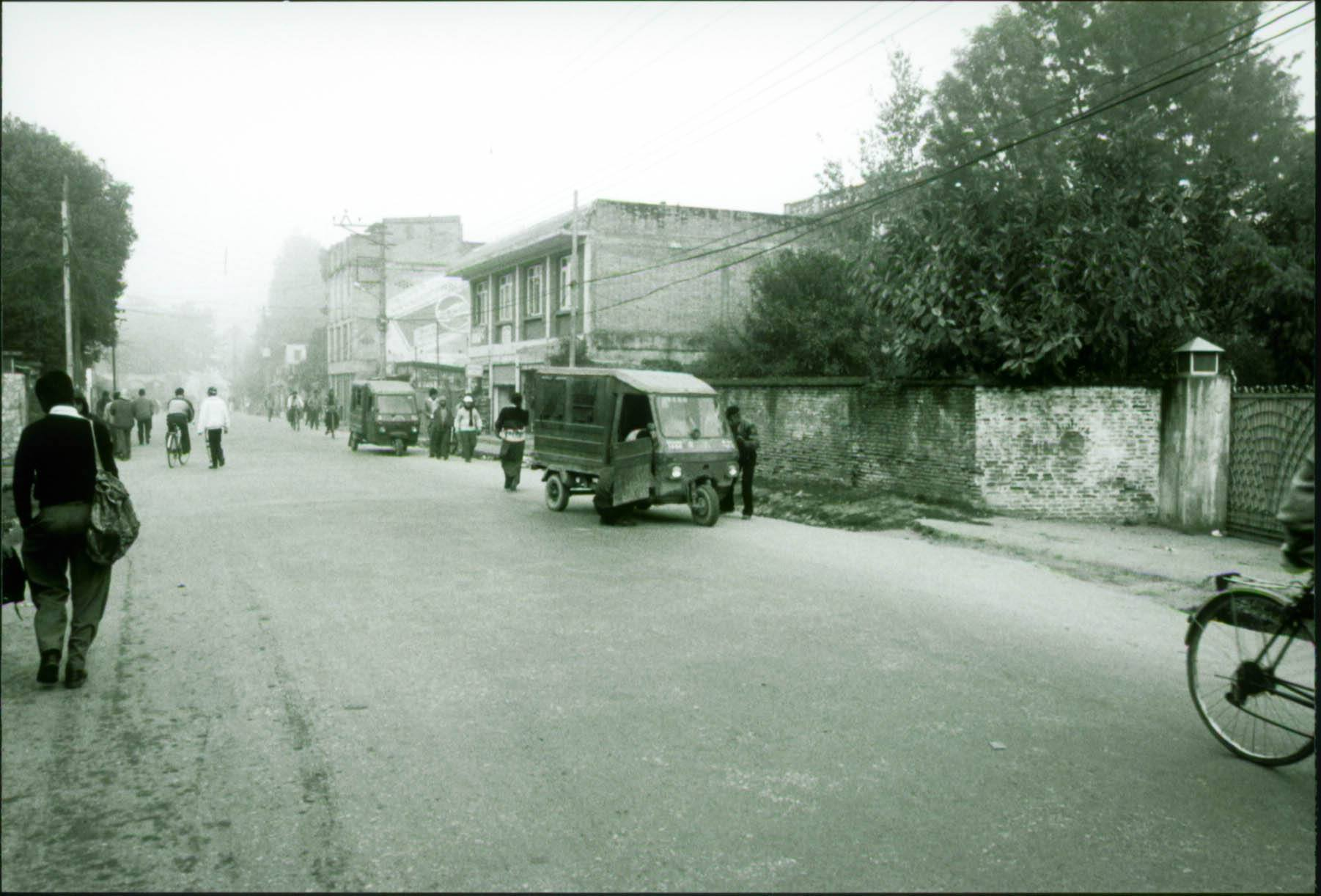 Exploring the streets of Kathmandu, Nepal during the Nepal Civil War when the military curfew was in effect.