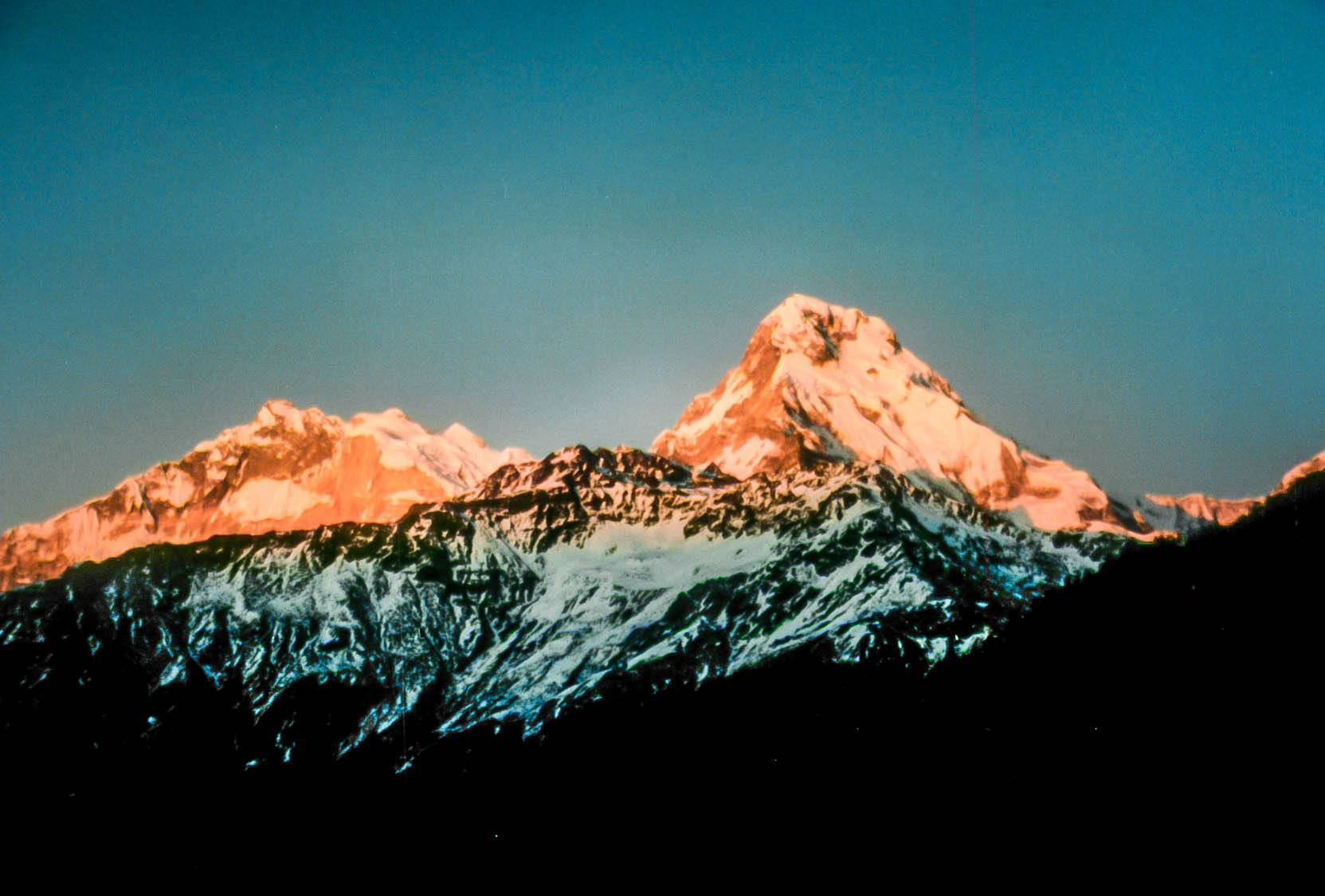 Sunrise from the summit of Poon Hill during the Annapurna Circuit trek.