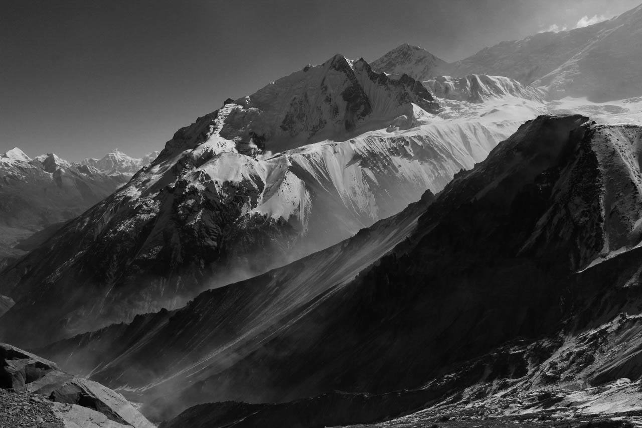 Black and White photo near Tilicho Lake in the Himalayas