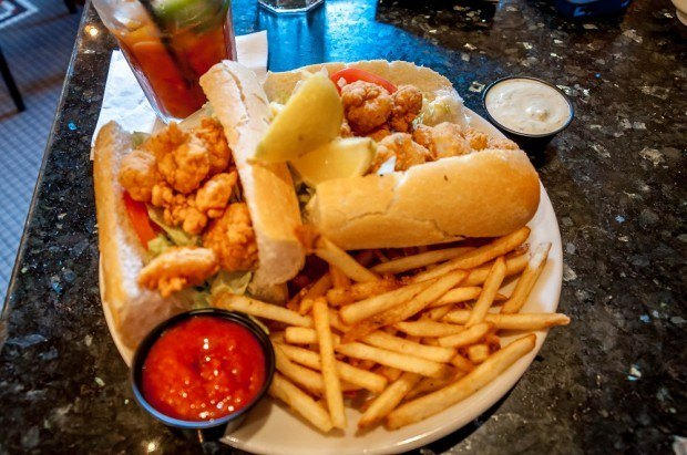 Catfish poboy, one of the most delicious New Orleans foods