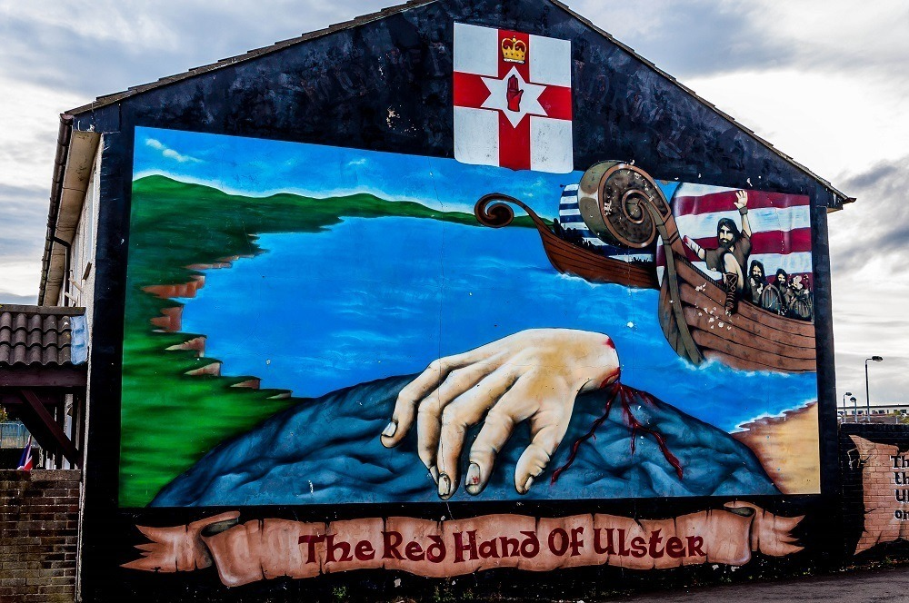 One of the Belfast murals incorporating the Red Hand of Ulster