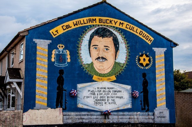 "Blue mural depicting William ""Bucky"" McCullough"