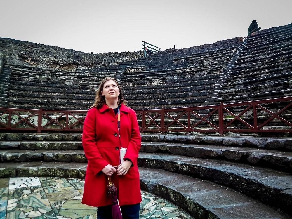 Laura in the rain at Pompeii