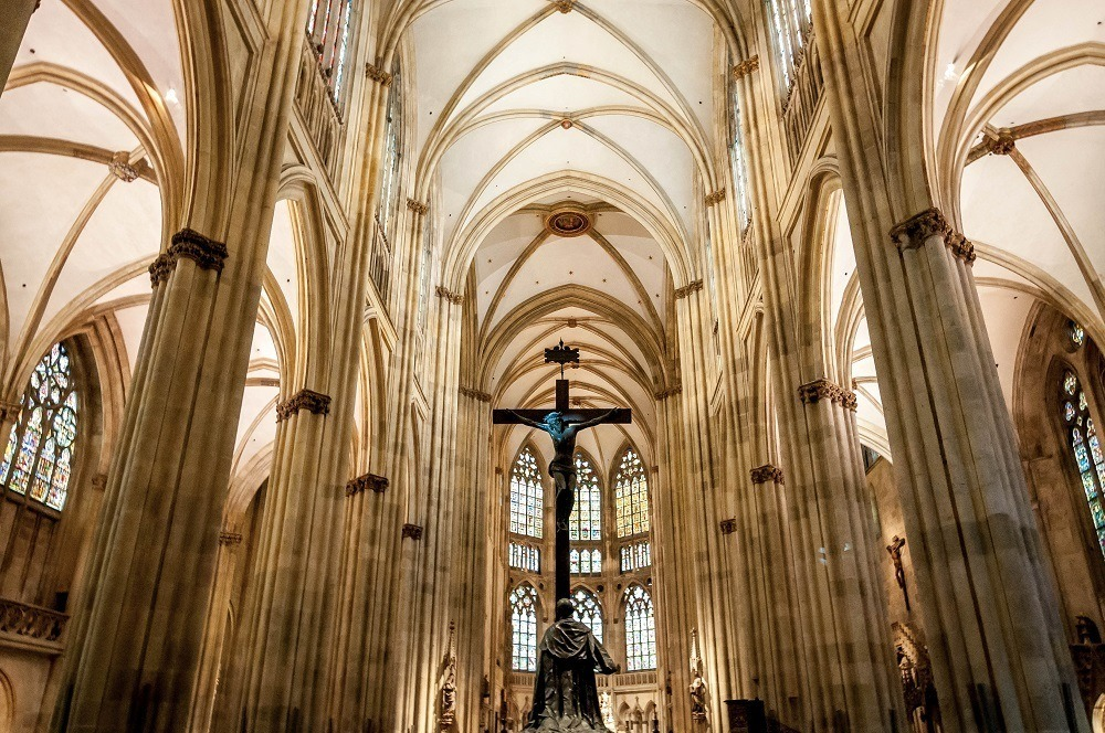 Regensburg Germany Cathedral Photo:  The vaulting of the ceiling inside St. Peter's Cathedral in Regensburg, Germany.