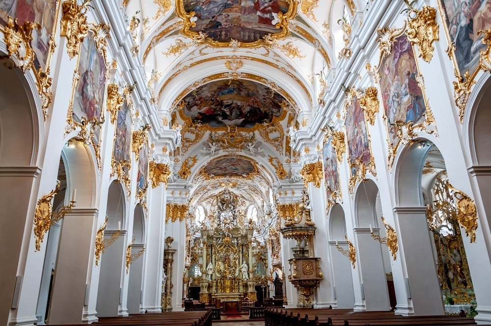 The rococo interior of The Collegiate Church of Our Lady at the Alte Kapelle (Old Chapel)