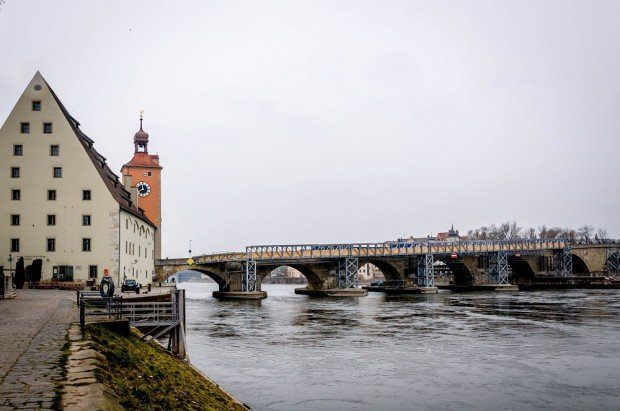 The Danube River is crossed by the Steinerne Brucke (Stone Bridge) in Regensburg.  For over 800 years, this was the only crossing of the Danube between Ulm and Vienna.