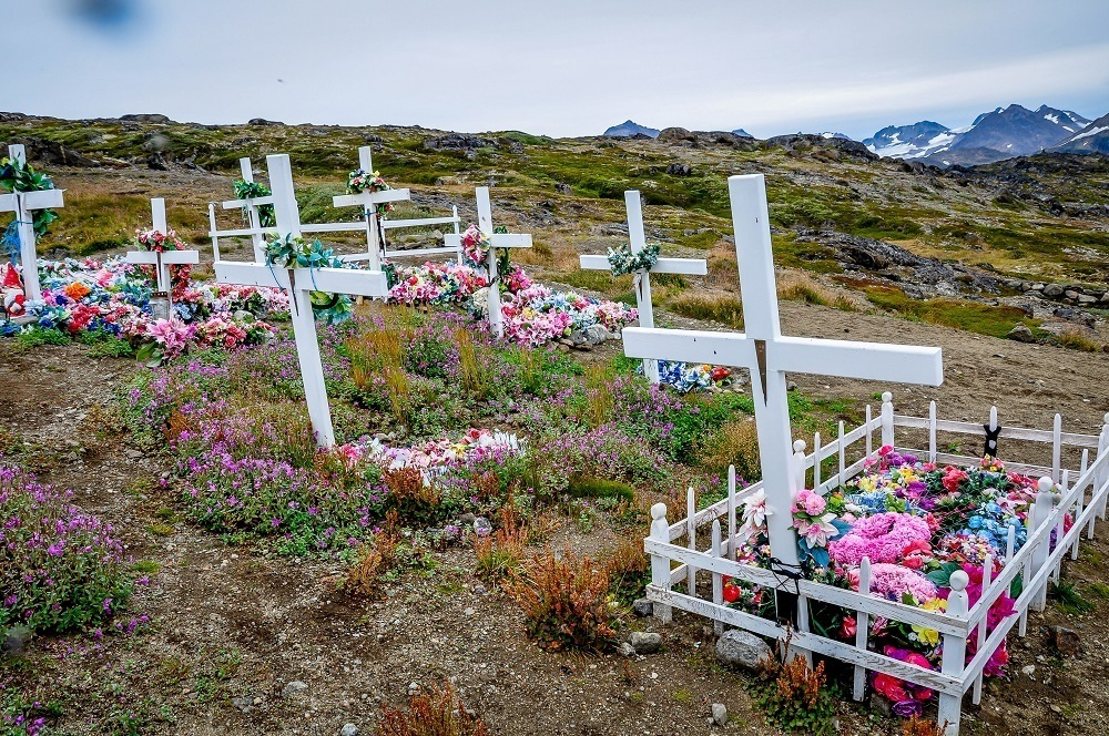 White crosses in a cemetery in Greenland