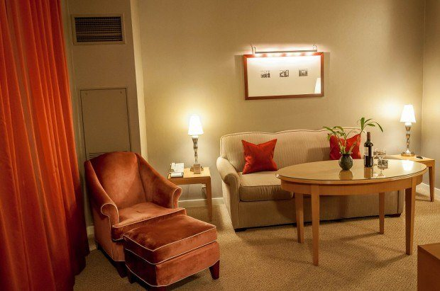 The sitting room in the King Suite at The Hotel Giraffe NY, one of the best boutique hotels in New York City.