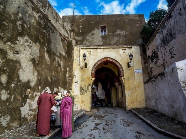 Ladies gather in Tangier's medina.  This was our first experience as country collectors and our first time in an Islamic country.