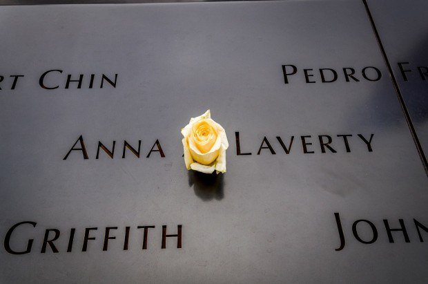 Rose in the wall at the September 11 Memorial