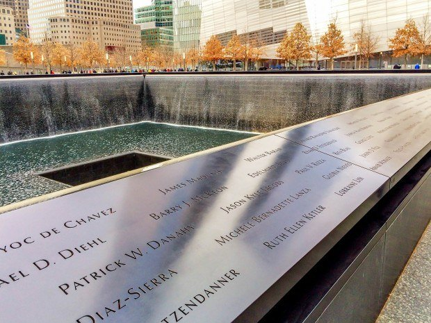 Names of those who died on walls at the September 11 Memorial