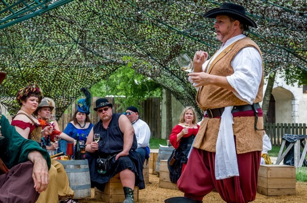 Sommelier Flynn Markley leading a wine tasting at Scarborough Faire Texas