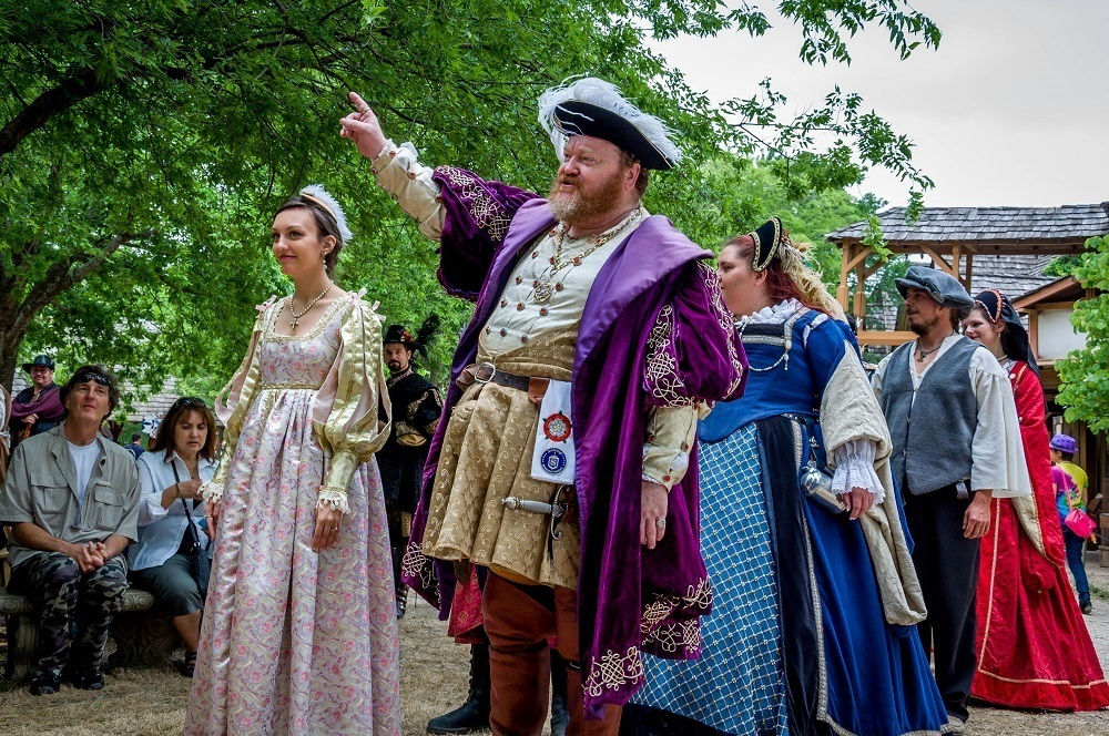 King Henry VIII and his court dancing at Scarborough Renaissance Festival in Waxahachie Texas