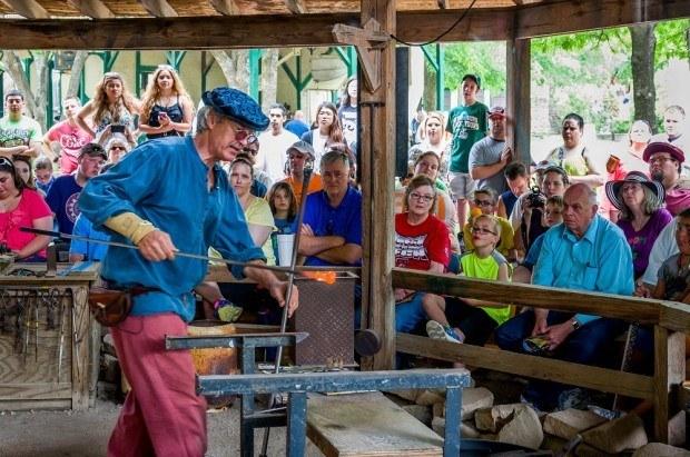 Glassblowing demonstration at Scarborough Renaissance Festival